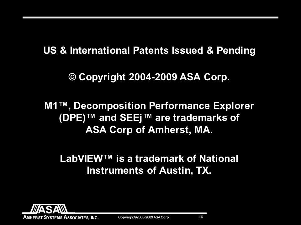 A MHERST S YSTEMS A SSOCIATES, INC. Copyright ©2005-2009 ASA Corp 24 US & International Patents Issued & Pending © Copyright 2004-2009 ASA Corp. M1™,