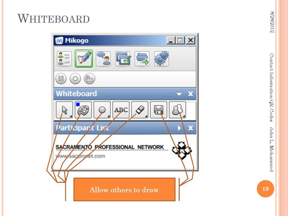 W HITEBOARD 19 8/28/2012 Contact Information QR Codes John L.