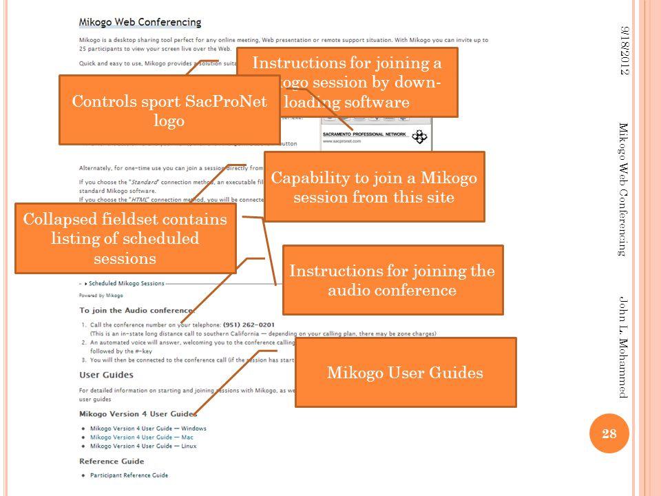 28 9/18/2012 Mikogo Web Conferencing John L.