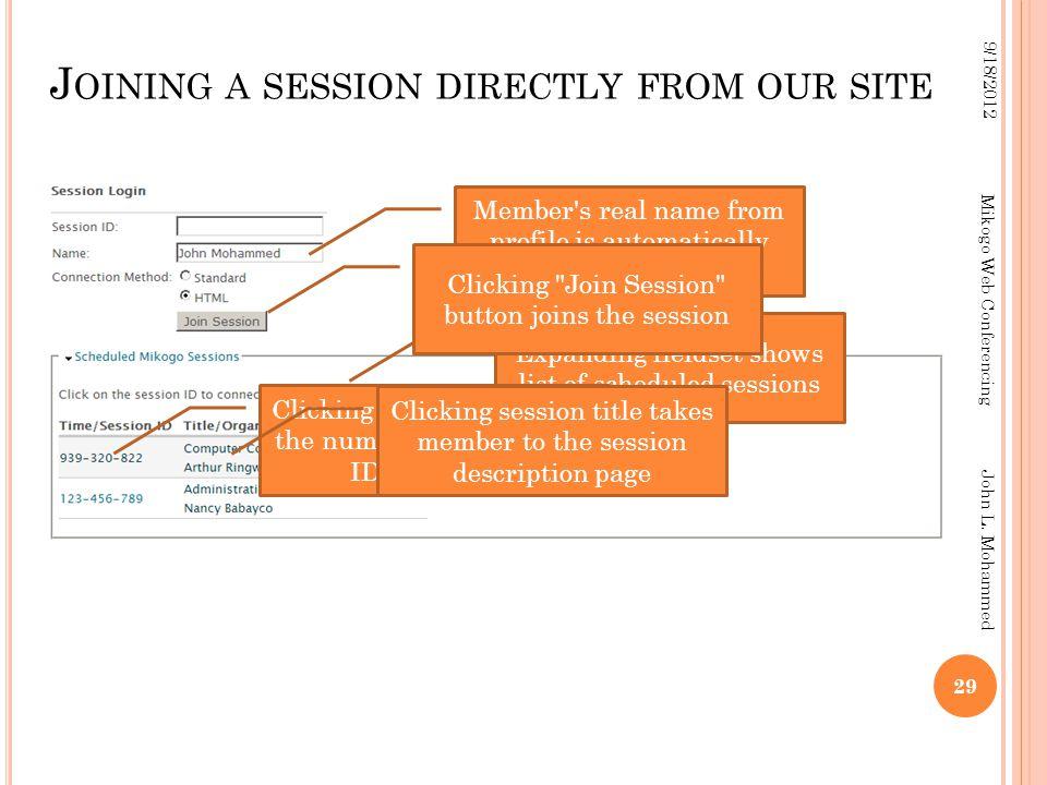 29 9/18/2012 Mikogo Web Conferencing John L.