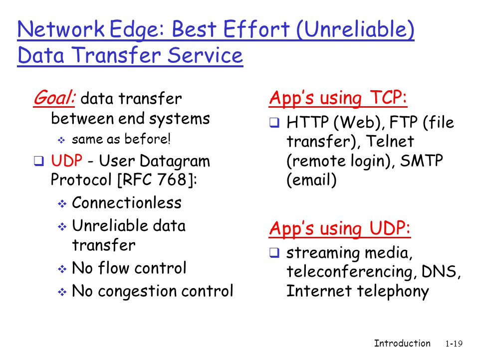 Introduction1-19 Network Edge: Best Effort (Unreliable) Data Transfer Service Goal: data transfer between end systems  same as before.