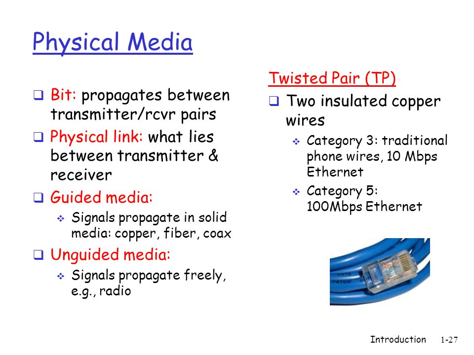 Introduction1-27 Physical Media  Bit: propagates between transmitter/rcvr pairs  Physical link: what lies between transmitter & receiver  Guided media:  Signals propagate in solid media: copper, fiber, coax  Unguided media:  Signals propagate freely, e.g., radio Twisted Pair (TP)  Two insulated copper wires  Category 3: traditional phone wires, 10 Mbps Ethernet  Category 5: 100Mbps Ethernet