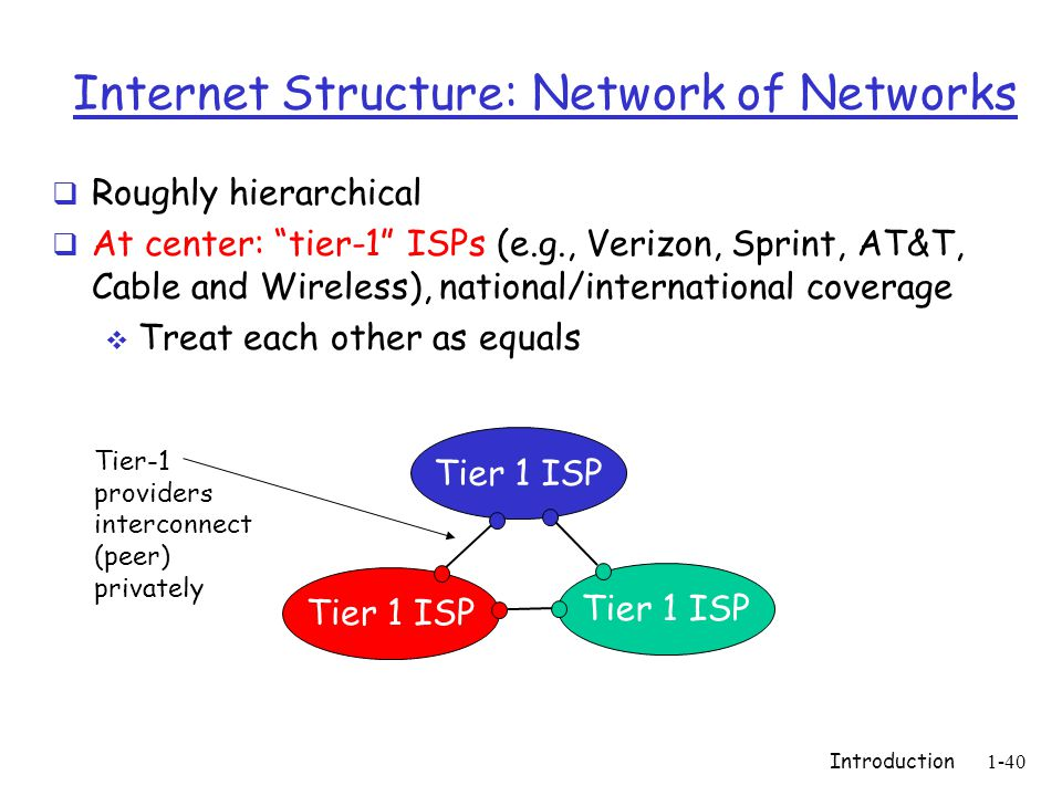 Introduction1-40 Internet Structure: Network of Networks  Roughly hierarchical  At center: tier-1 ISPs (e.g., Verizon, Sprint, AT&T, Cable and Wireless), national/international coverage  Treat each other as equals Tier 1 ISP Tier-1 providers interconnect (peer) privately
