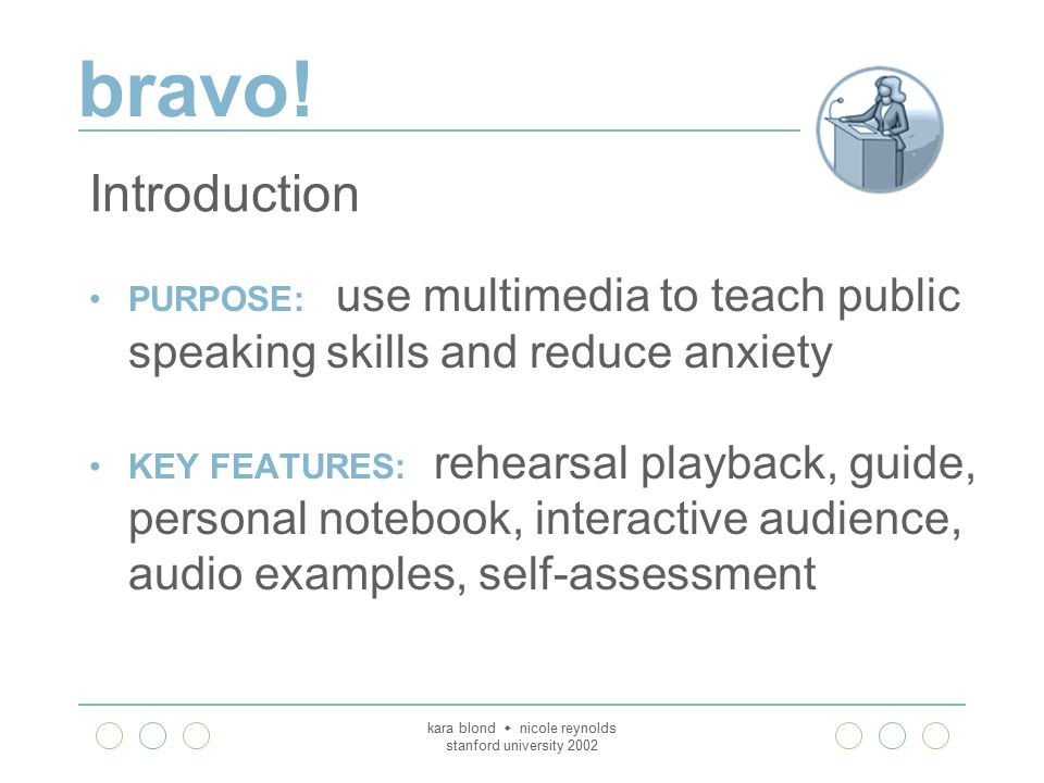 bravo! kara blond  nicole reynolds stanford university 2002 Introduction PURPOSE: use multimedia to teach public speaking skills and reduce anxiety K