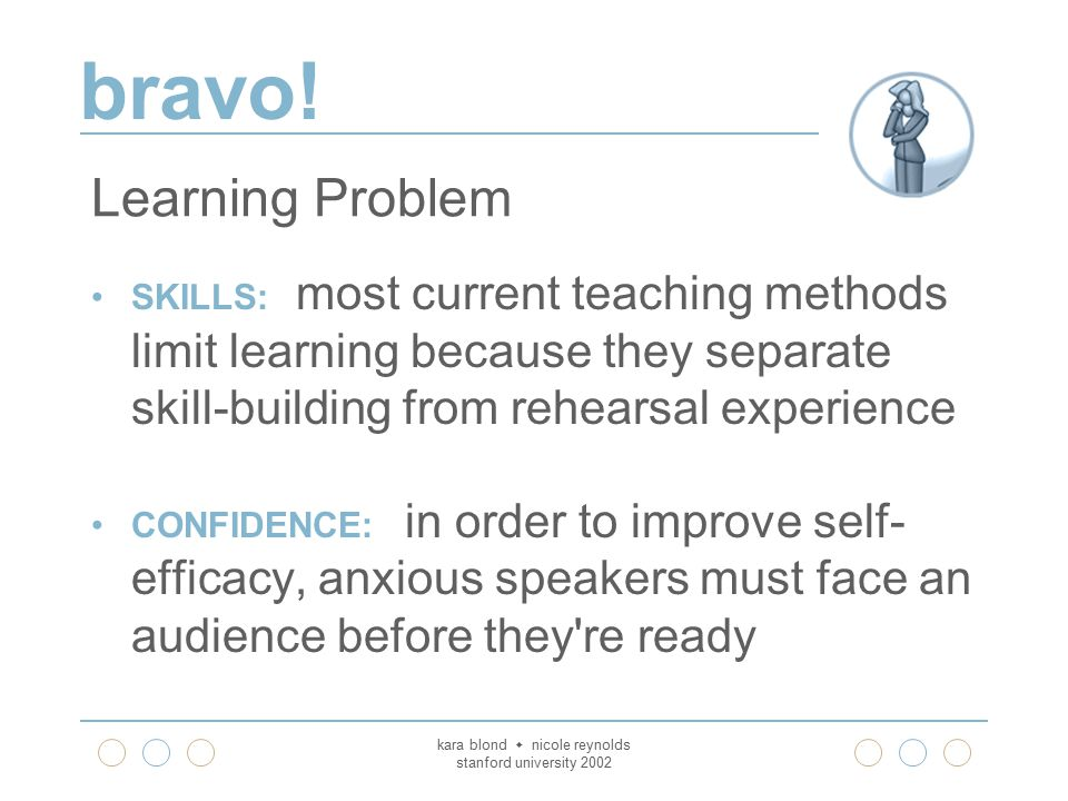 bravo! kara blond  nicole reynolds stanford university 2002 Learning Problem SKILLS: most current teaching methods limit learning because they separa