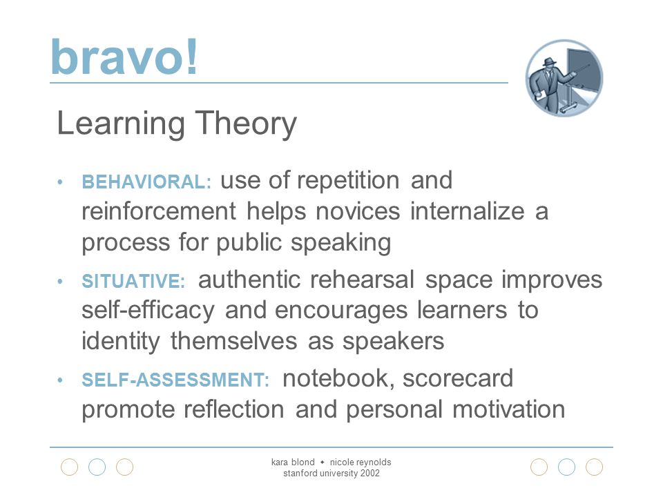 bravo! kara blond  nicole reynolds stanford university 2002 Learning Theory BEHAVIORAL: use of repetition and reinforcement helps novices internalize