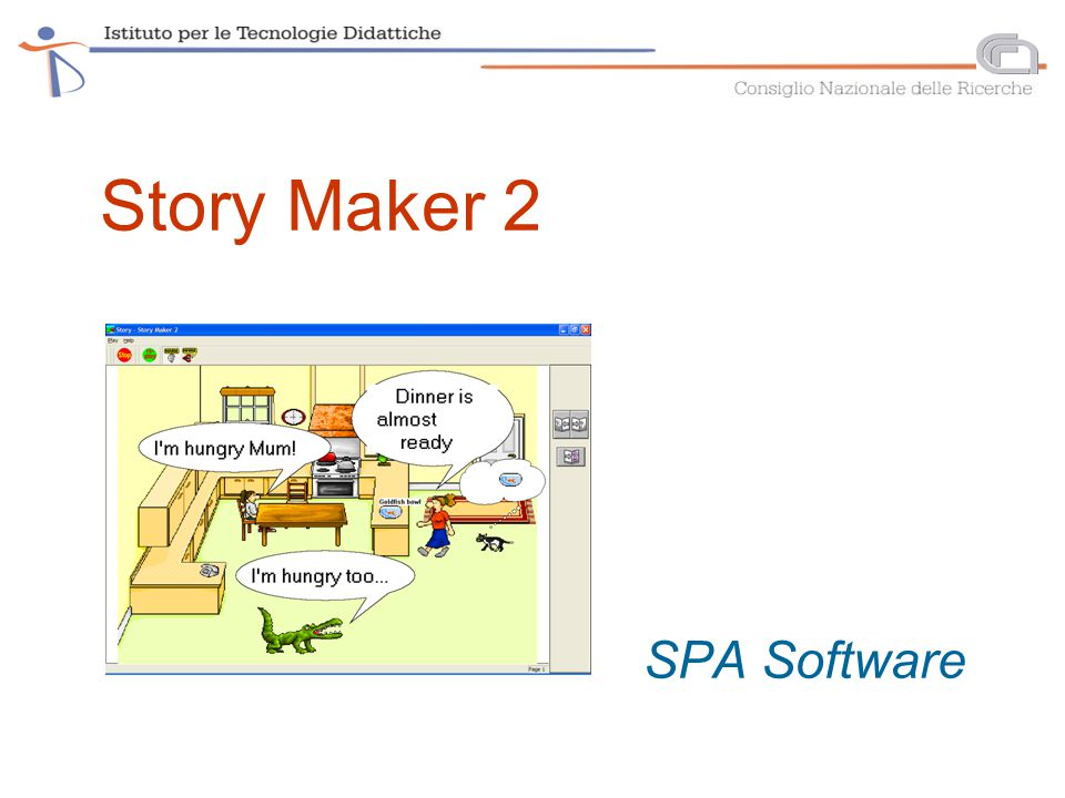 Story Maker 2 interactive scenes/stories with animations, and linear or hypermedia structure (primary school) developing narrative by working with a palette of visual/sound components, animating them and forming interactions (network of links) embedding interactivity – producing for an audience storybook format – page turning hypermedia structure – co-operative narrative development personalisation– pictures, videos, sounds content from English- and French-speaking contexts dual language text-to-speech in various combinations (inc.