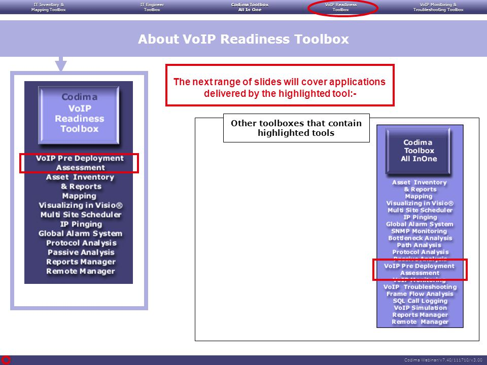 IT Inventory & Mapping Toolbox IT Engineer Toolbox Codima Toolbox All In One VoIP Readiness Toolbox VoIP Monitoring & Troubleshooting Toolbox Codima Webinar/v7.40/111710/v3.00 The next range of slides will cover applications delivered by the highlighted tool:- About VoIP Readiness Toolbox Other toolboxes that contain highlighted tools