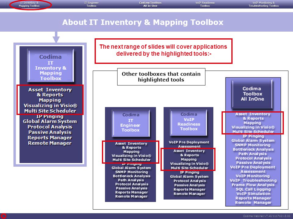 IT Inventory & Mapping Toolbox IT Engineer Toolbox Codima Toolbox All In One VoIP Readiness Toolbox VoIP Monitoring & Troubleshooting Toolbox Codima Webinar/v7.40/111710/v3.00 Automatically providing visual notification when key network devices stop working Logging alarms and providing:- Facilities to issue SNMP Traps Facilities to issue alarm notification emails and SMS text messages Enabling the Pinging process to be set up quickly on key devices The discovery database can be used to automatically supply IP addresses for key devices Showing failure patterns and root causes (failed path components) Displaying real time Echo fail status directly into the Visio drawings covering the network topology.