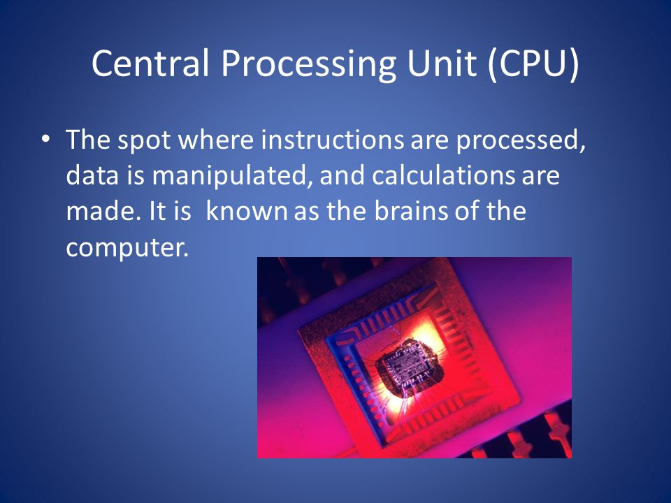 Central Processing Unit (CPU) The spot where instructions are processed, data is manipulated, and calculations are made.
