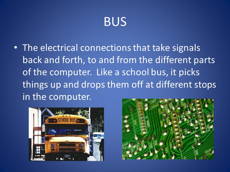 BUS The electrical connections that take signals back and forth, to and from the different parts of the computer.