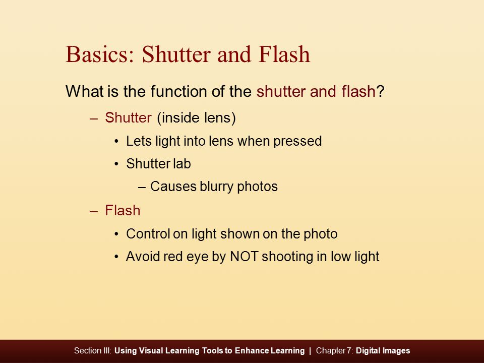 Section III: Using Visual Learning Tools to Enhance Learning | Chapter 7: Digital Images Basics: Shutter and Flash What is the function of the shutter and flash.