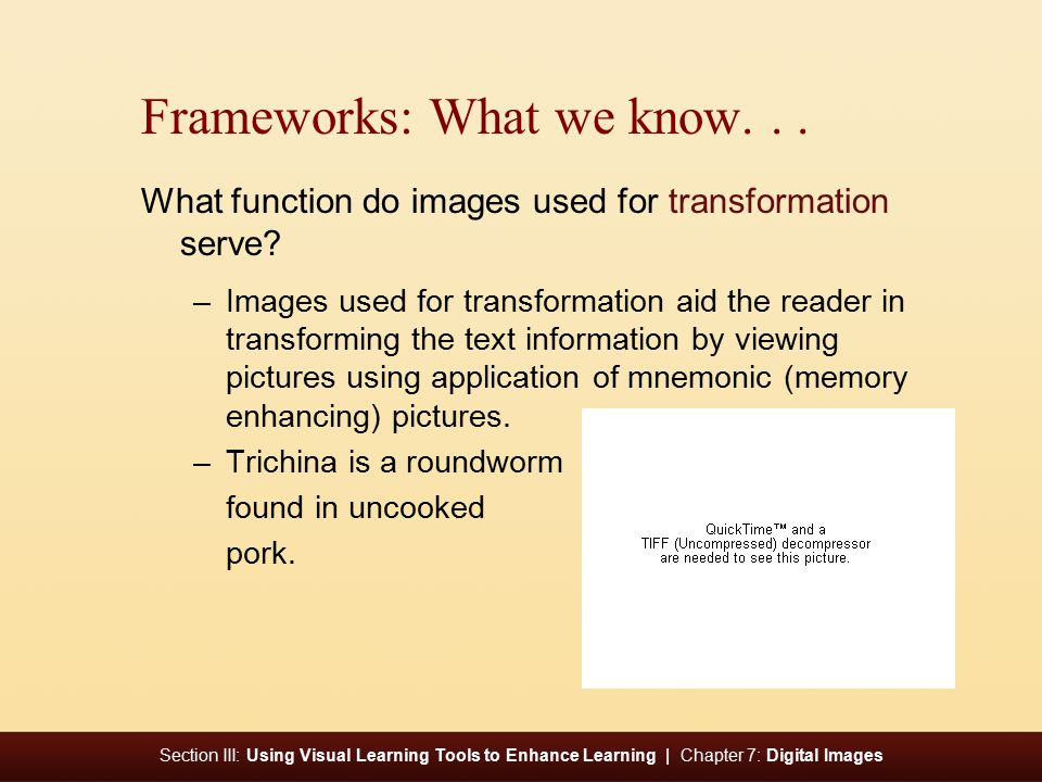 Section III: Using Visual Learning Tools to Enhance Learning | Chapter 7: Digital Images Frameworks: What we know...