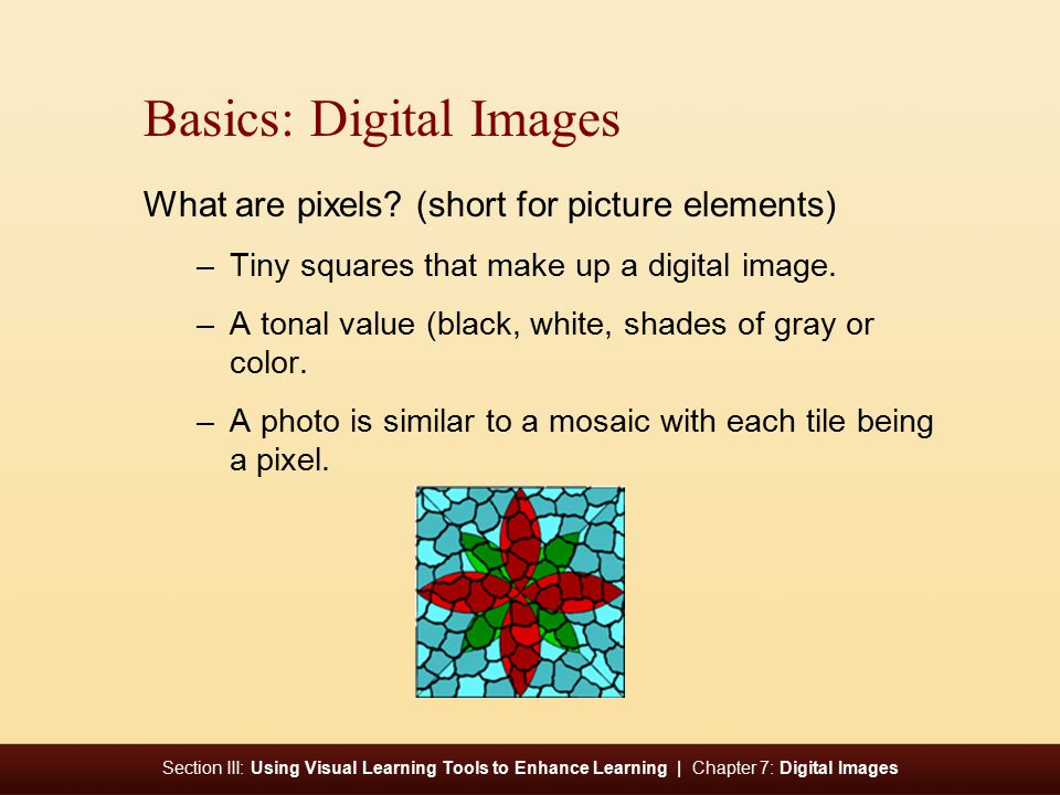 Section III: Using Visual Learning Tools to Enhance Learning | Chapter 7: Digital Images Basics: Digital Images What are pixels.