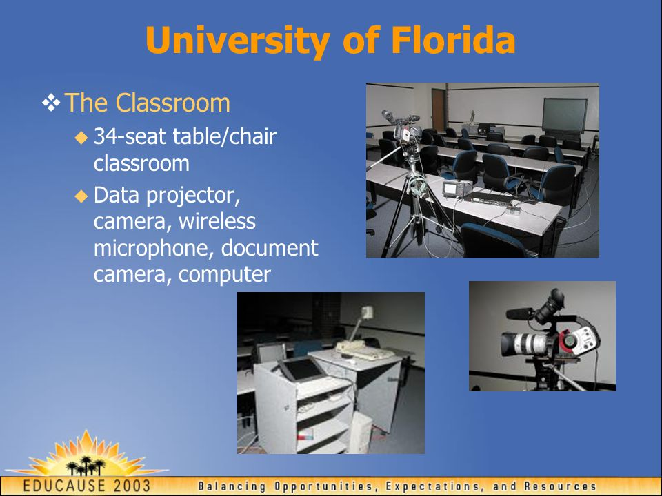 University of Florida  The Classroom  34-seat table/chair classroom  Data projector, camera, wireless microphone, document camera, computer