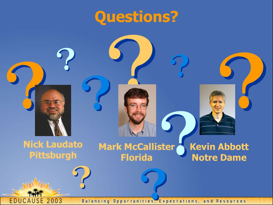 Questions? Nick Laudato Pittsburgh Mark McCallister Florida Kevin Abbott Notre Dame