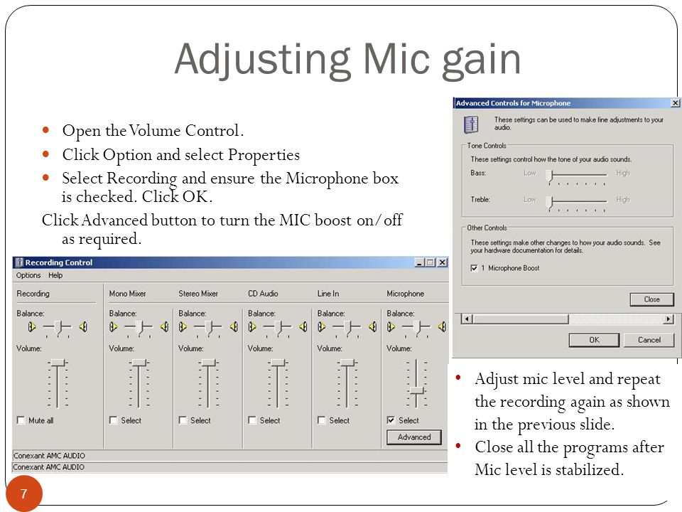 Adjusting Mic gain 7 Open the Volume Control.