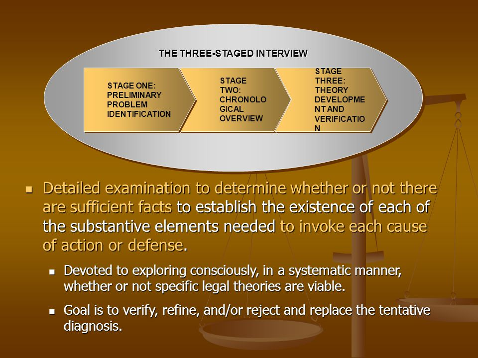 THE THREE-STAGED INTERVIEW STAGE TWO: CHRONOLO GICAL OVERVIEW STAGE TWO: CHRONOLO GICAL OVERVIEW STAGE ONE: PRELIMINARY PROBLEM IDENTIFICATION STAGE O