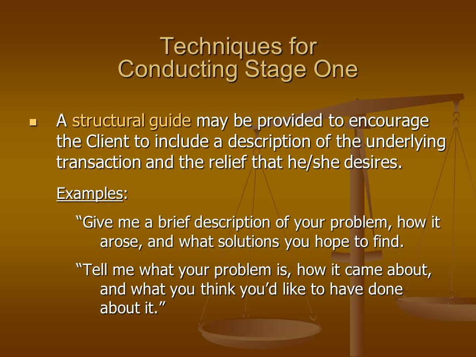 Techniques for Conducting Stage One A structural guide may be provided to encourage the Client to include a description of the underlying transaction