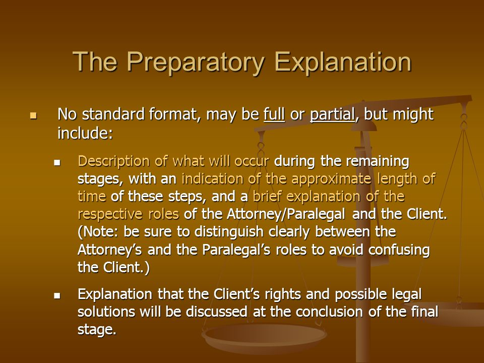 The Preparatory Explanation No standard format, may be full or partial, but might include: No standard format, may be full or partial, but might inclu