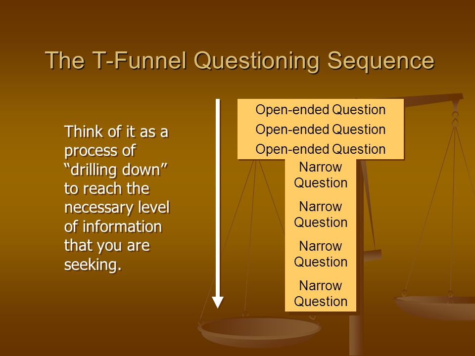 The T-Funnel Questioning Sequence Open-ended Question Narrow Question Narrow Question Narrow Question Narrow Question Narrow Question Narrow Question