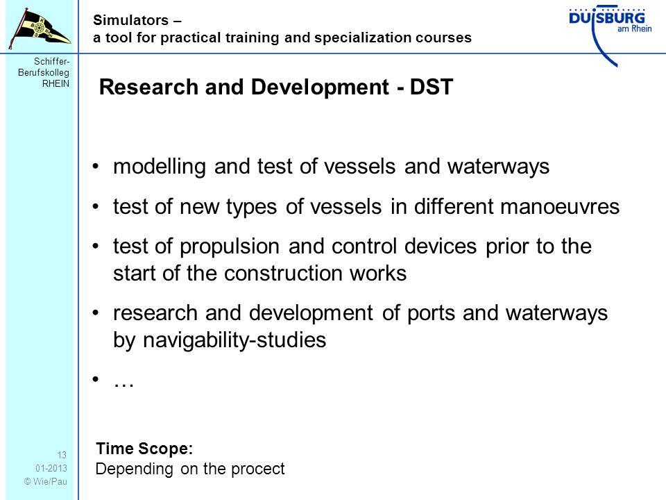 Schiffer- Berufskolleg RHEIN 01-2013 © Wie/Pau Simulators – a tool for practical training and specialization courses 13 Research and Development - DST