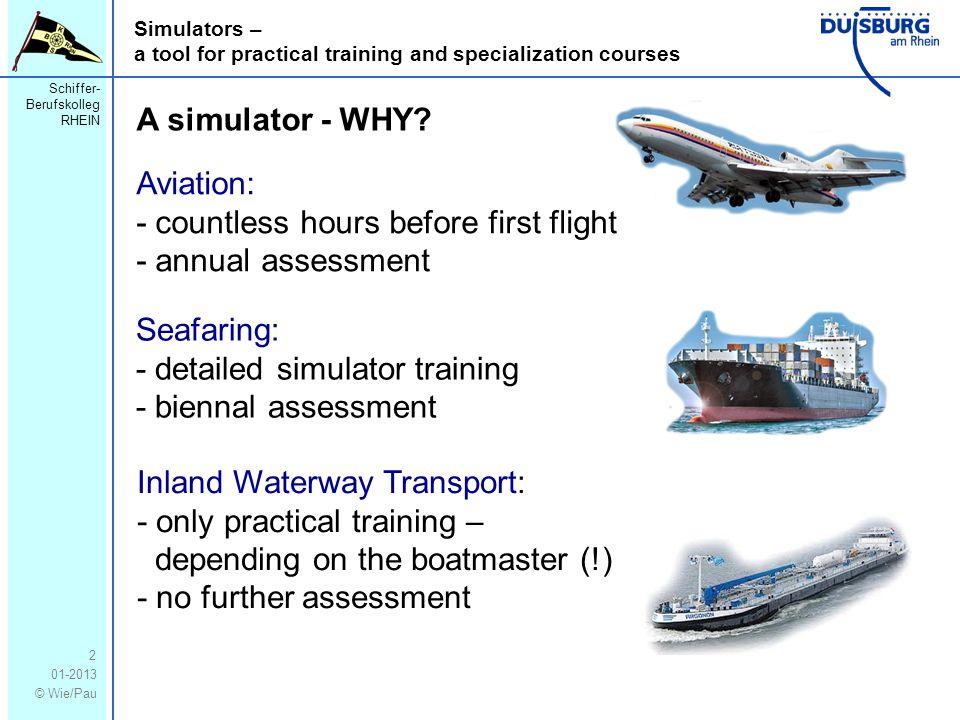 Schiffer- Berufskolleg RHEIN 01-2013 © Wie/Pau Simulators – a tool for practical training and specialization courses 2 A simulator - WHY.