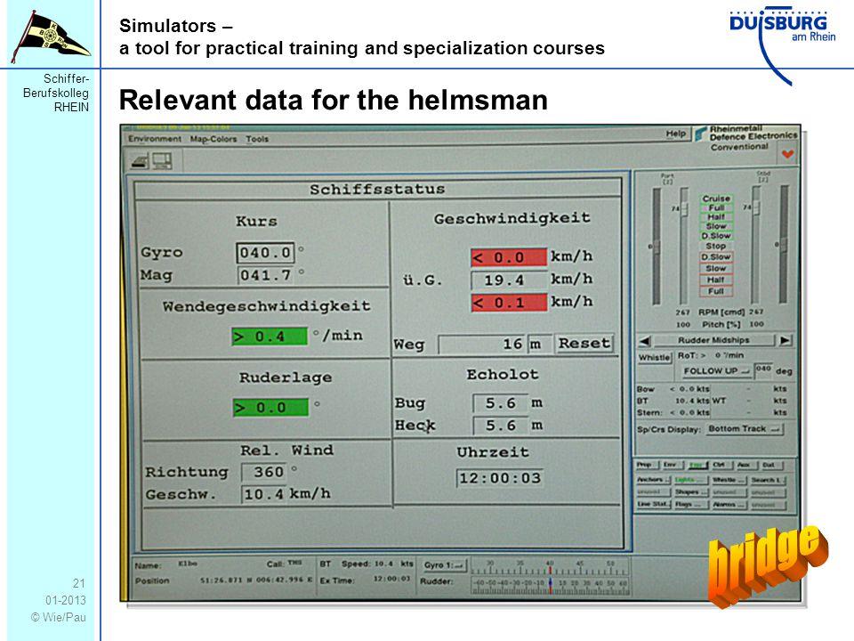 Schiffer- Berufskolleg RHEIN 01-2013 © Wie/Pau Simulators – a tool for practical training and specialization courses 21 Relevant data for the helmsman