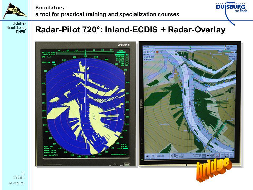 Schiffer- Berufskolleg RHEIN 01-2013 © Wie/Pau Simulators – a tool for practical training and specialization courses 22 Radar-Pilot 720°: Inland-ECDIS + Radar-Overlay