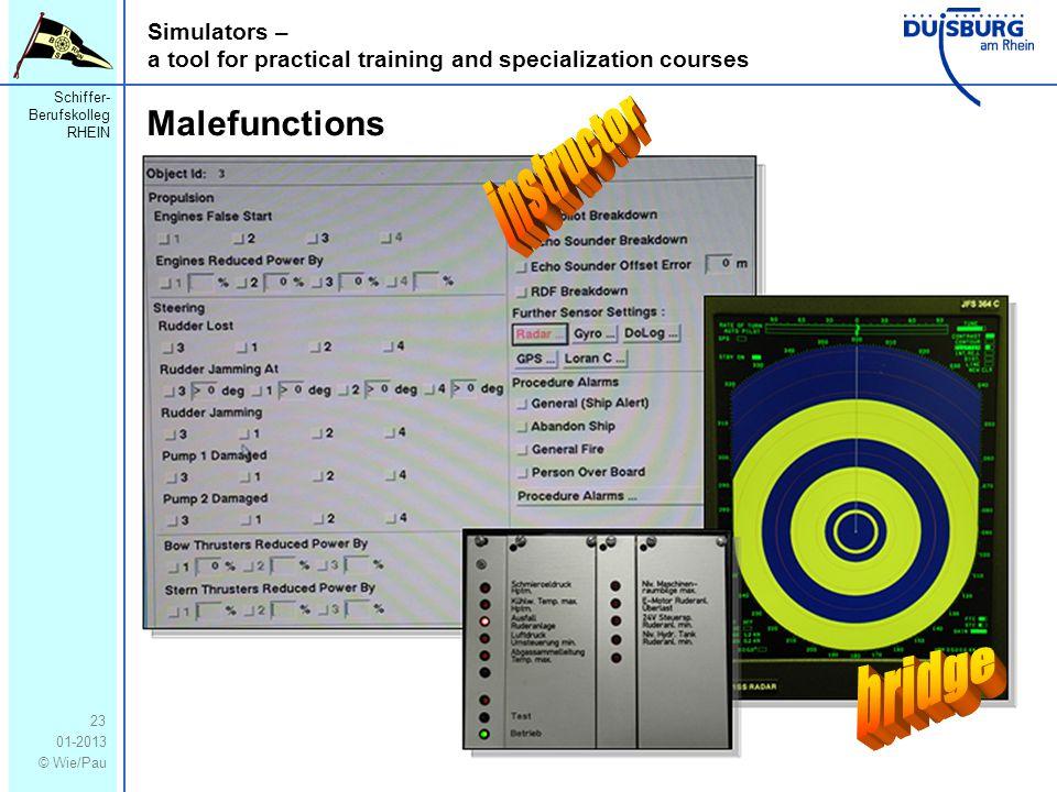 Schiffer- Berufskolleg RHEIN 01-2013 © Wie/Pau Simulators – a tool for practical training and specialization courses 23 Malefunctions