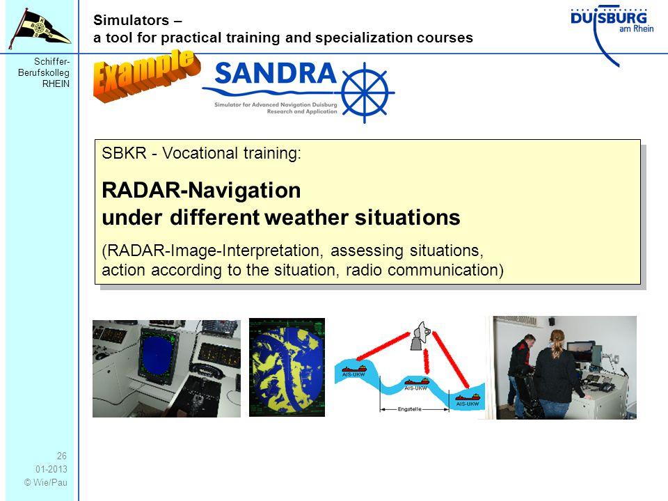 Schiffer- Berufskolleg RHEIN 01-2013 © Wie/Pau Simulators – a tool for practical training and specialization courses 26 SBKR - Vocational training: RA