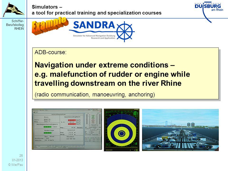 Schiffer- Berufskolleg RHEIN 01-2013 © Wie/Pau Simulators – a tool for practical training and specialization courses 28 ADB-course: Navigation under e