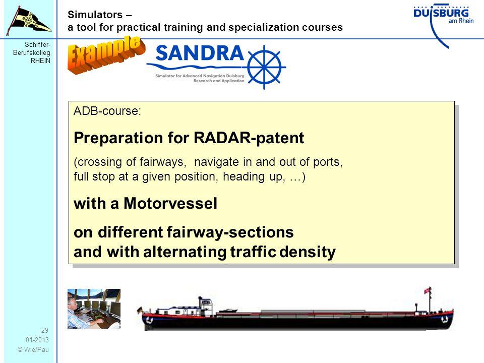 Schiffer- Berufskolleg RHEIN 01-2013 © Wie/Pau Simulators – a tool for practical training and specialization courses 29 ADB-course: Preparation for RA