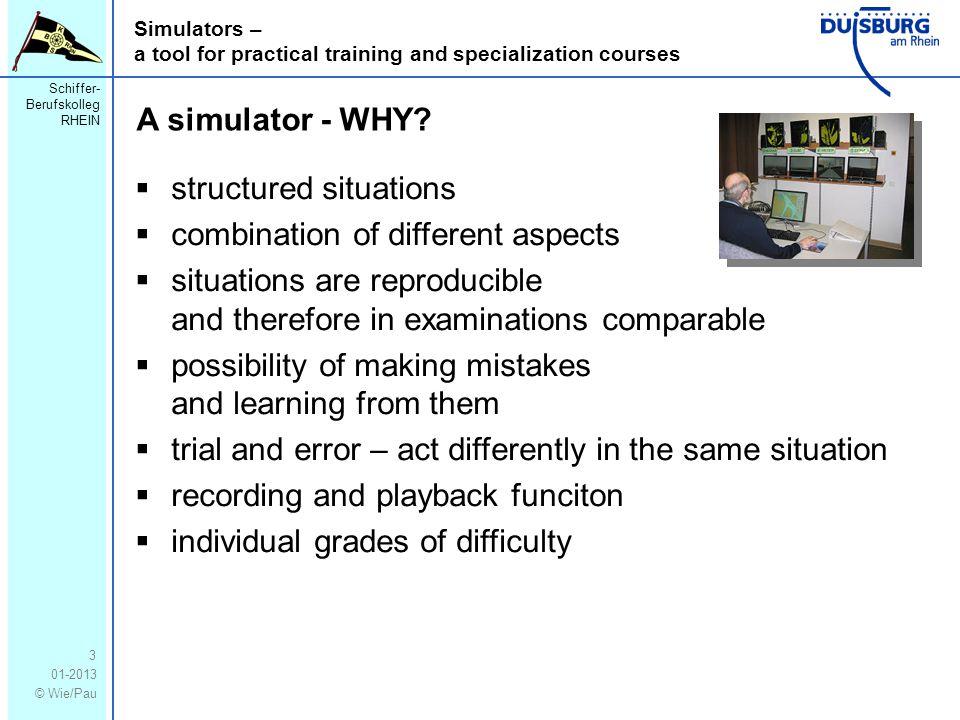 Schiffer- Berufskolleg RHEIN 01-2013 © Wie/Pau Simulators – a tool for practical training and specialization courses 3 A simulator - WHY.