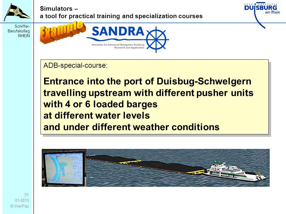 Schiffer- Berufskolleg RHEIN 01-2013 © Wie/Pau Simulators – a tool for practical training and specialization courses 31 ADB-special-course: Entrance i