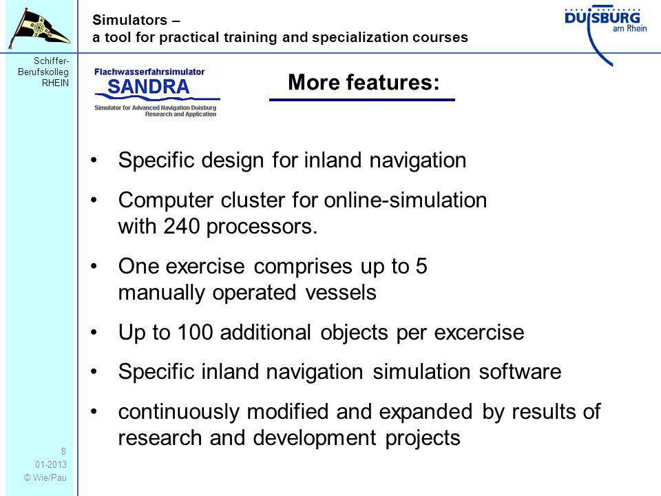 Schiffer- Berufskolleg RHEIN 01-2013 © Wie/Pau Simulators – a tool for practical training and specialization courses 8 Specific design for inland navi