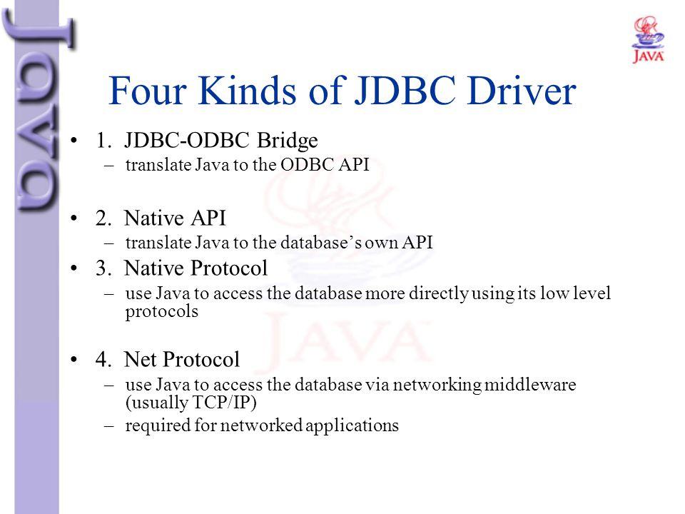 Four Kinds of JDBC Driver 1. JDBC-ODBC Bridge –translate Java to the ODBC API 2. Native API –translate Java to the database's own API 3. Native Protoc