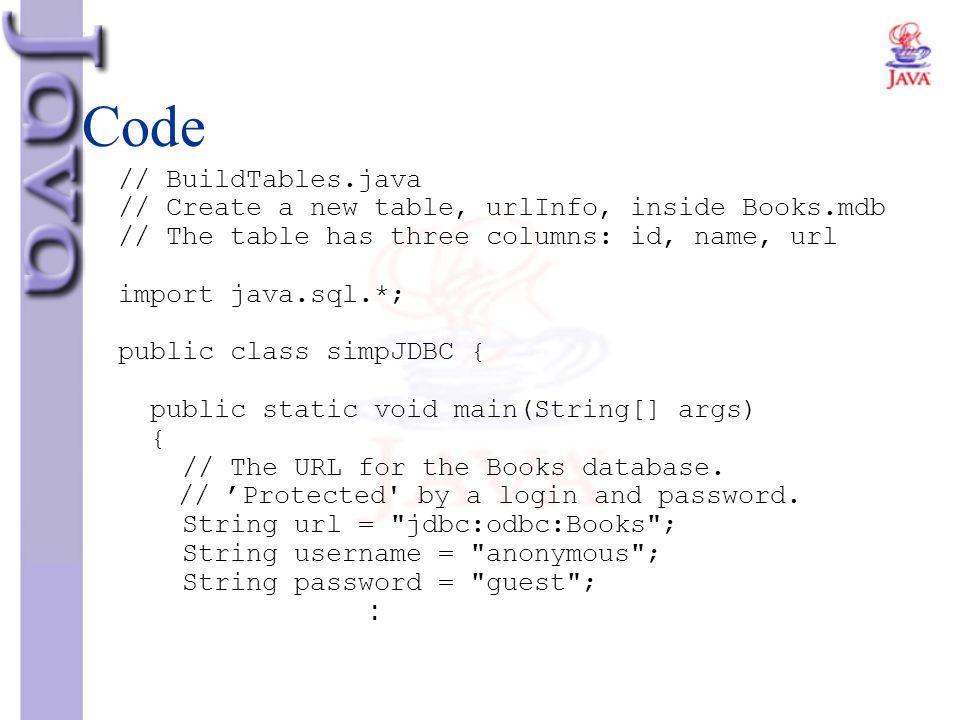 Code // BuildTables.java // Create a new table, urlInfo, inside Books.mdb // The table has three columns: id, name, url import java.sql.*; public clas
