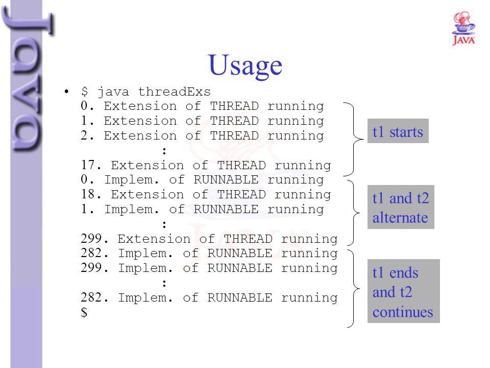 Usage $ java threadExs 0. Extension of THREAD running 1. Extension of THREAD running 2. Extension of THREAD running : 17. Extension of THREAD running