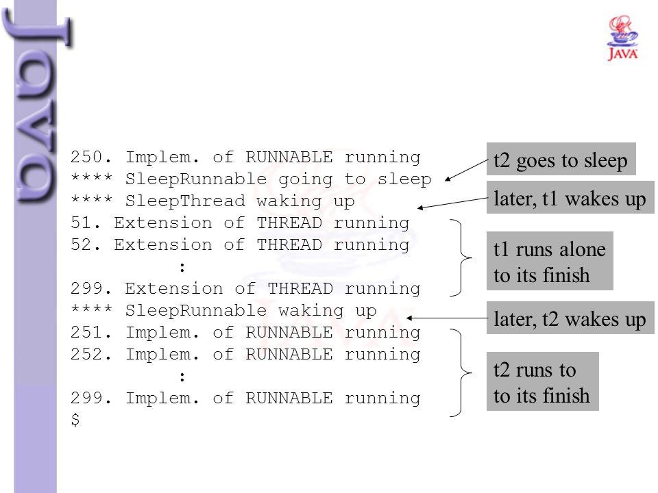 250. Implem. of RUNNABLE running **** SleepRunnable going to sleep **** SleepThread waking up 51. Extension of THREAD running 52. Extension of THREAD
