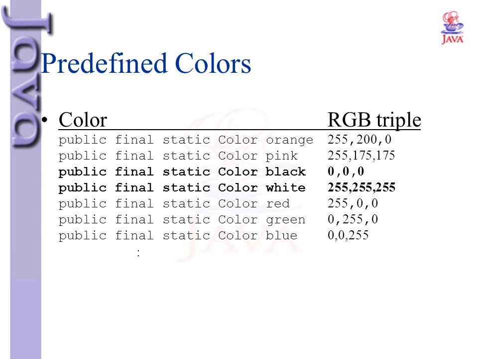 Predefined Colors ColorRGB triple public final static Color orange255,200,0 public final static Color pink255,175,175 public final static Color black0
