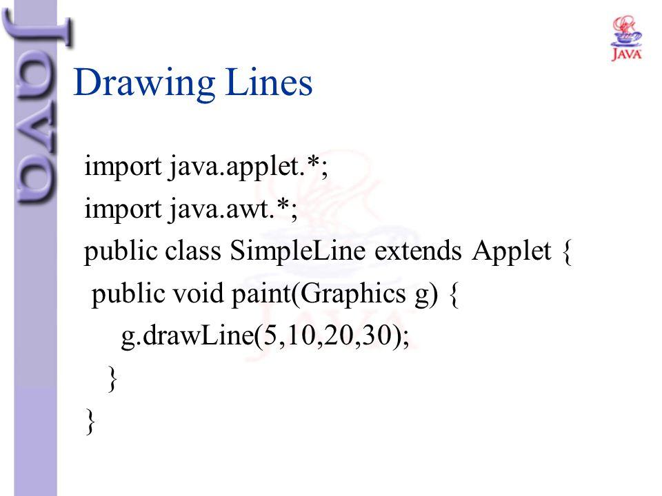Drawing Lines import java.applet.*; import java.awt.*; public class SimpleLine extends Applet { public void paint(Graphics g) { g.drawLine(5,10,20,30)