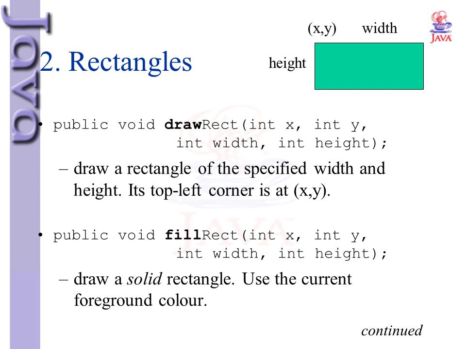 2. Rectangles public void drawRect(int x, int y, int width, int height); –draw a rectangle of the specified width and height. Its top-left corner is a