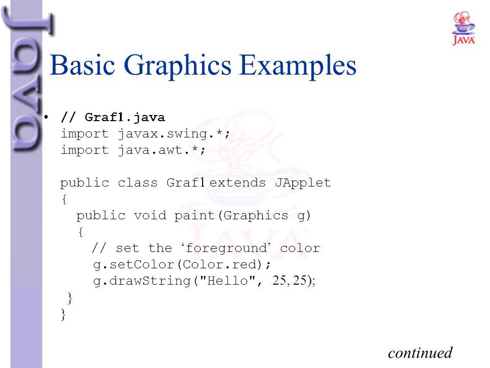 Basic Graphics Examples // Graf1.java import javax.swing.*; import java.awt.*; public class Graf1 extends JApplet { public void paint(Graphics g) { //