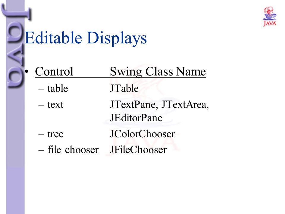 Editable Displays ControlSwing Class Name –tableJTable –textJTextPane, JTextArea, JEditorPane –treeJColorChooser –file chooserJFileChooser