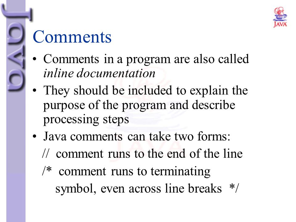Comments Comments in a program are also called inline documentation They should be included to explain the purpose of the program and describe process