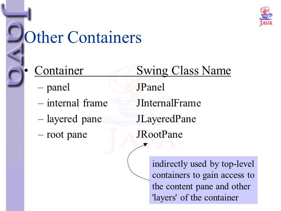 Other Containers ContainerSwing Class Name –panelJPanel –internal frame JInternalFrame –layered paneJLayeredPane –root paneJRootPane indirectly used b