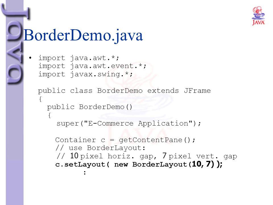 BorderDemo.java import java.awt.*; import java.awt.event.*; import javax.swing.*; public class BorderDemo extends JFrame { public BorderDemo() { super