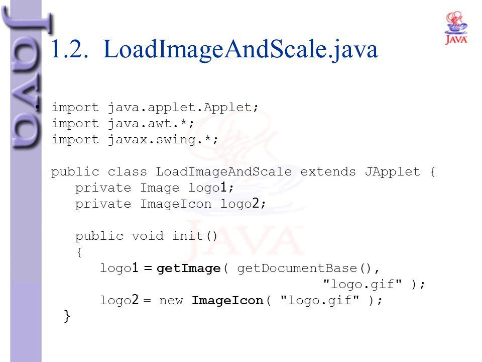 1.2. LoadImageAndScale.java import java.applet.Applet; import java.awt.*; import javax.swing.*; public class LoadImageAndScale extends JApplet { priva