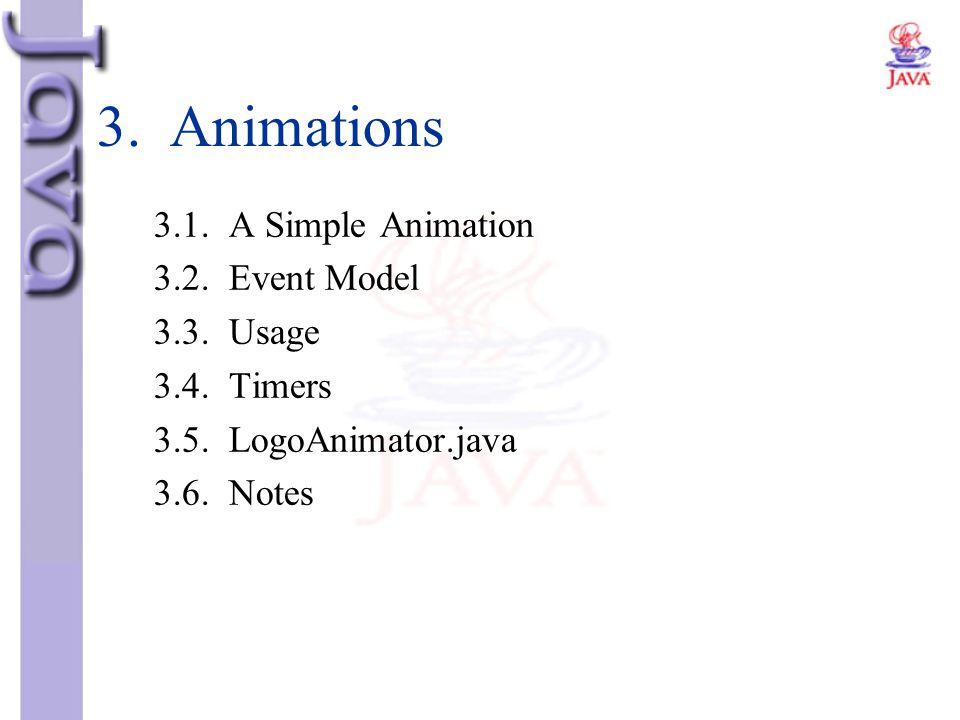3. Animations 3.1. A Simple Animation 3.2. Event Model 3.3. Usage 3.4. Timers 3.5. LogoAnimator.java 3.6. Notes
